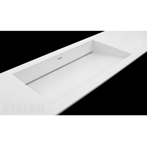Storslået Hvid Corian håndvask med skrå bund og skjult afløb. OX36
